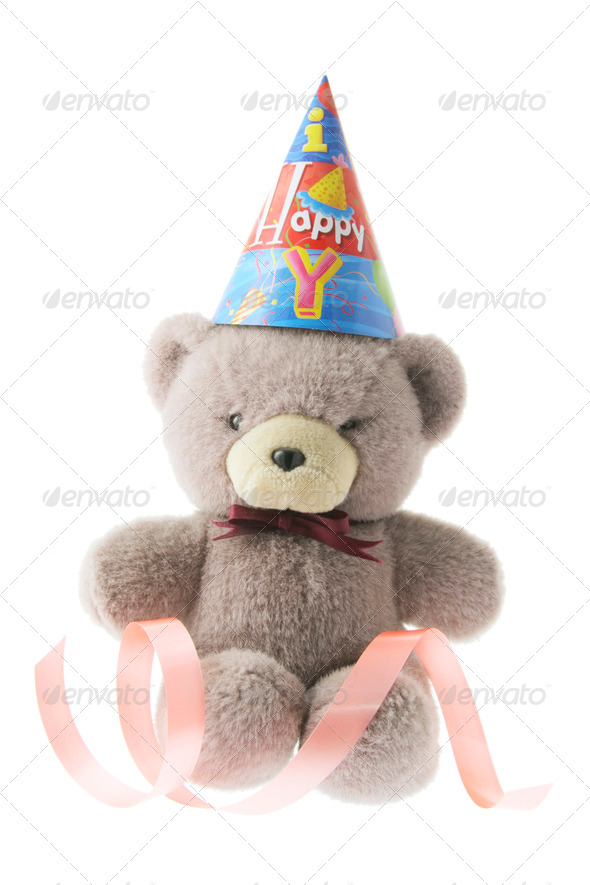 Teddy Bear with Party Hat - Stock Photo - Images