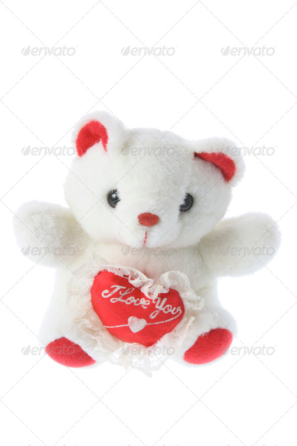 Teddy Bear with Love Heart - Stock Photo - Images