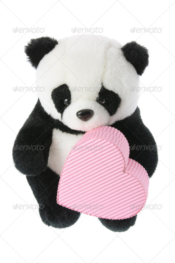 Panda Soft Toy with Love Heart - Stock Photo - Images
