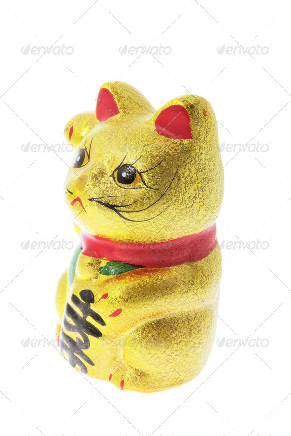Japanese Lucky Cat Figurine - Stock Photo - Images
