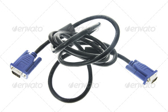Computer Monitor Cable - Stock Photo - Images