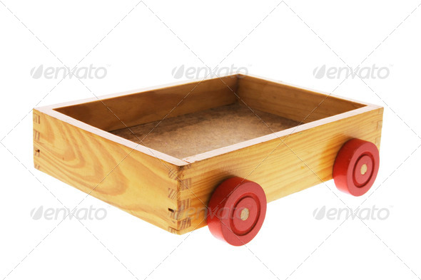 Wooden Box with Wheels - Stock Photo - Images