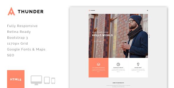 Thunder – Minimal Agency/Portfolio HTML5 Template
