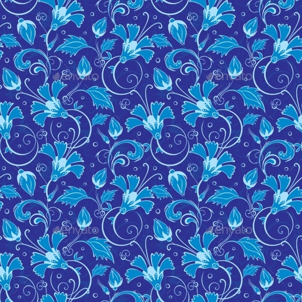 dark blue turkish floral seamless pattern by oksancia