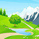Green Landscape with Road and Mountains - GraphicRiver Item for Sale