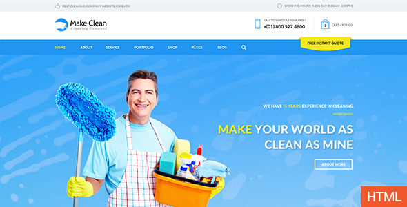 Make Clean – Cleaning Company HTML Template