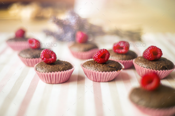 Muffins with raspberries - Stock Photo - Images