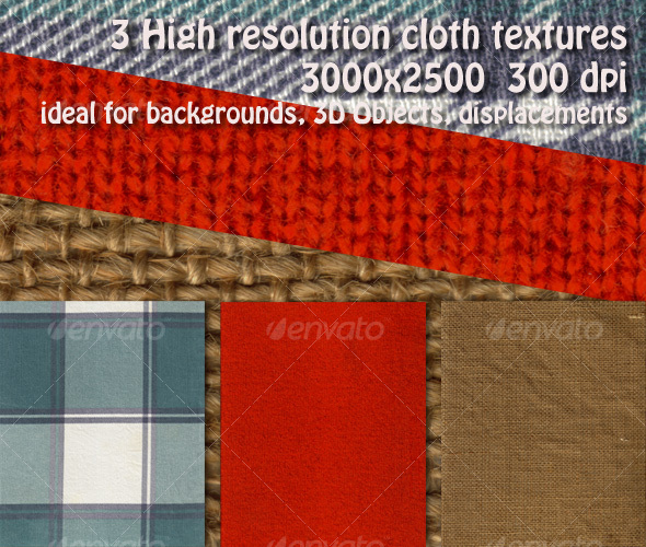 3 Cloth Texture Pack - Fabric Textures