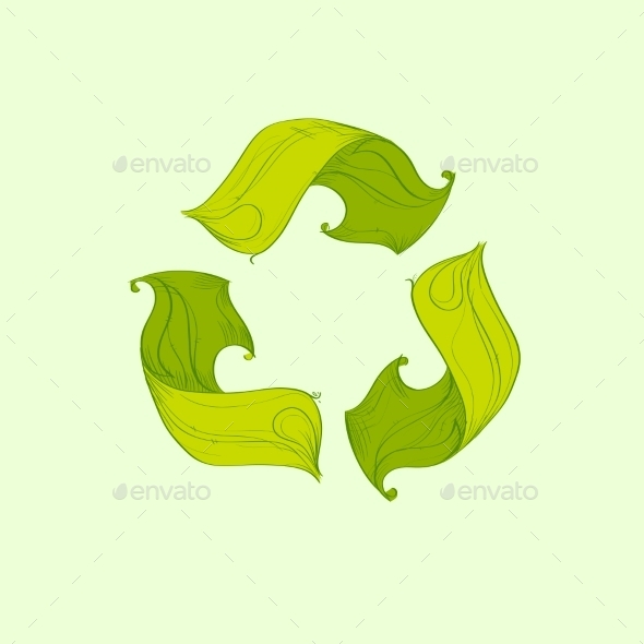 Recycle Symbol Logo From Tree Green Flat Icon By Prostockstudio
