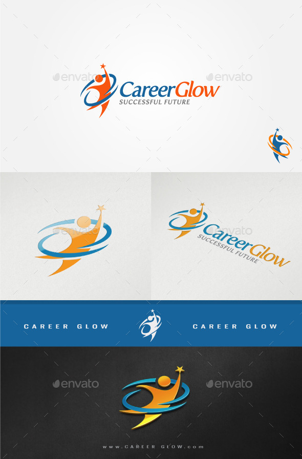Career Glow Motivative Logo - Humans Logo Templates