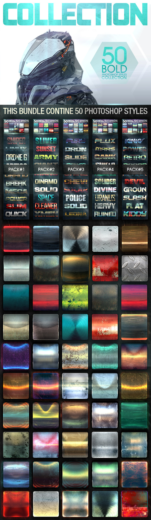 50 Metal Text Effects Bundle V3 - Text Effects Styles