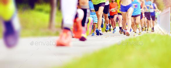 Unidentified marathon racers running - Stock Photo - Images