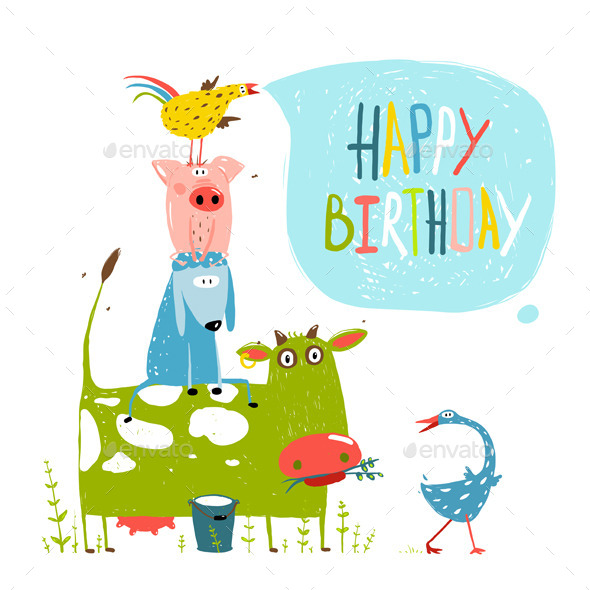 Birthday Cartoon Farm Animals Greeting Card By Popmarleo Graphicriver