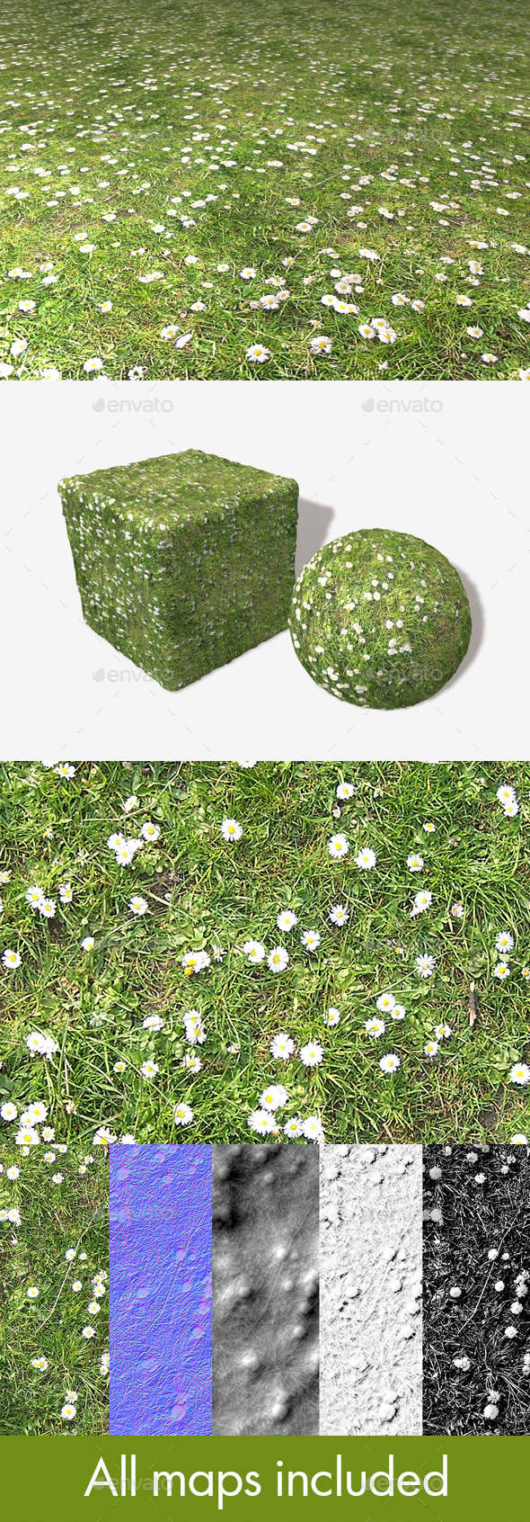 Daisies and Grass Seamless Texture - 3DOcean Item for Sale