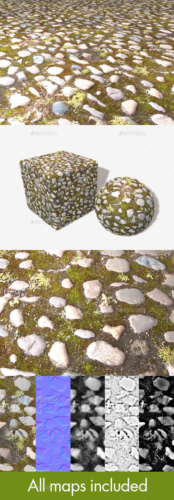 Old Mossy Cobbles Seamless Texture - 3DOcean Item for Sale