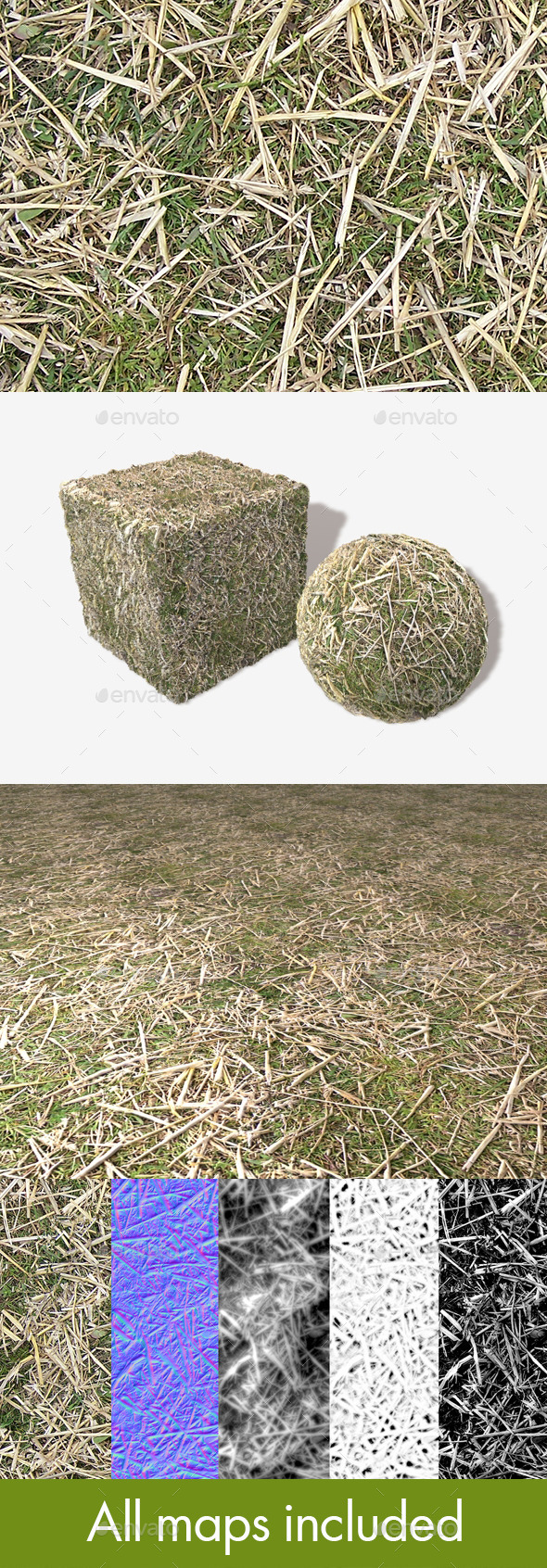 Straw on Grass Seamless Texture - 3DOcean Item for Sale