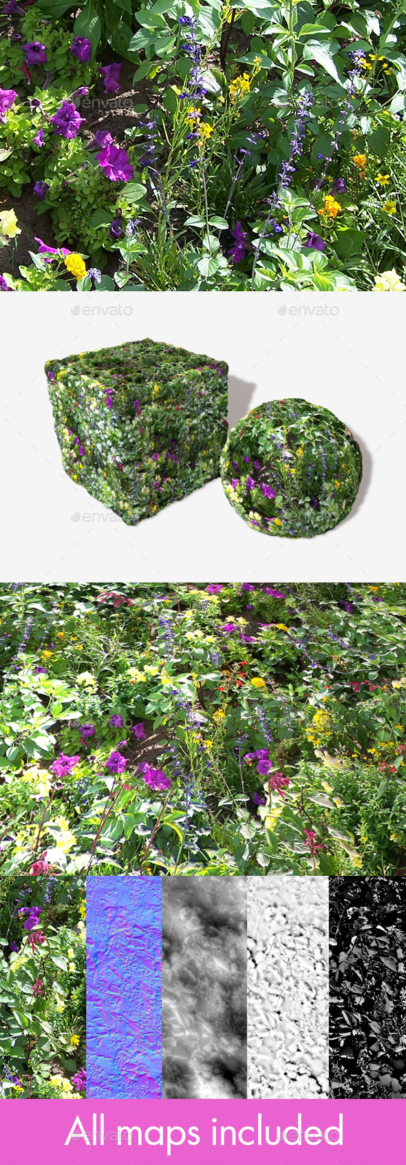 Wild Flowers Seamless Texture - 3DOcean Item for Sale