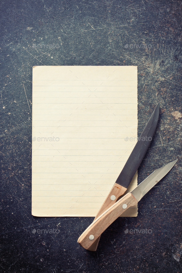 sheet of paper with knives - Stock Photo - Images