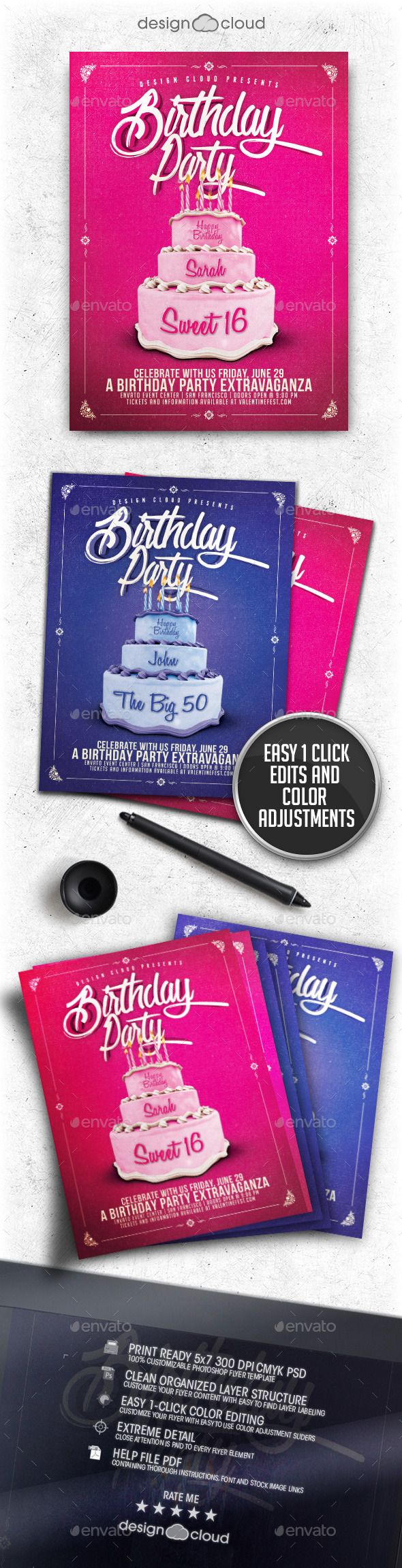 Birthday Party Cake Flyer Template - Clubs & Parties Events