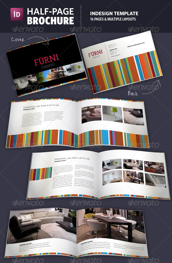 Half Page Brochure InDesign Template By Adriennepalmer GraphicRiver - Indesign template brochure