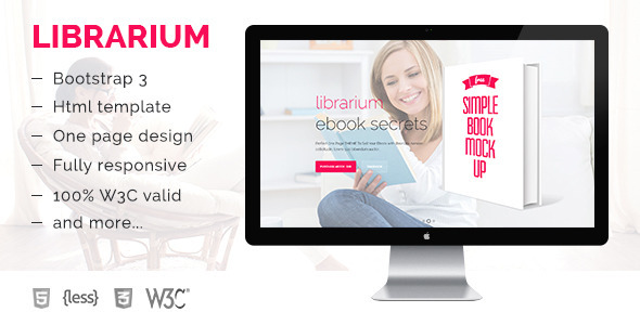 Librarium – One page eBook landing page