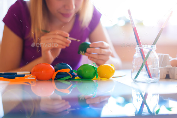 Easter egg painting - Stock Photo - Images