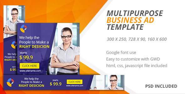 Multipurpose | Google HTML5 Ad Template 05 - CodeCanyon Item for Sale