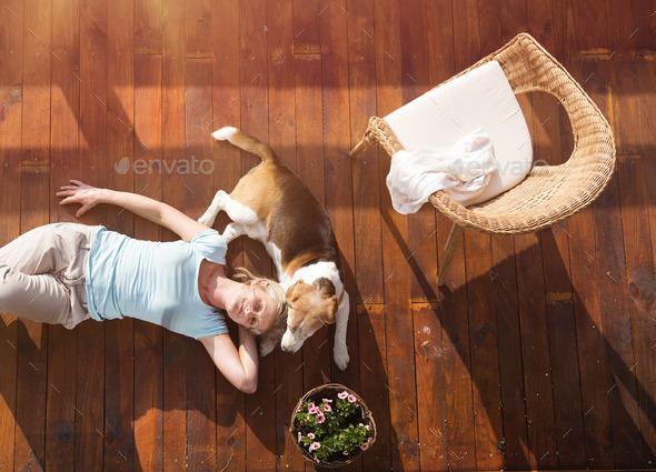 Senior woman and dog - Stock Photo - Images