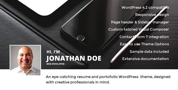 Hi, I'm – Responsive Resume / CV WordPress Theme