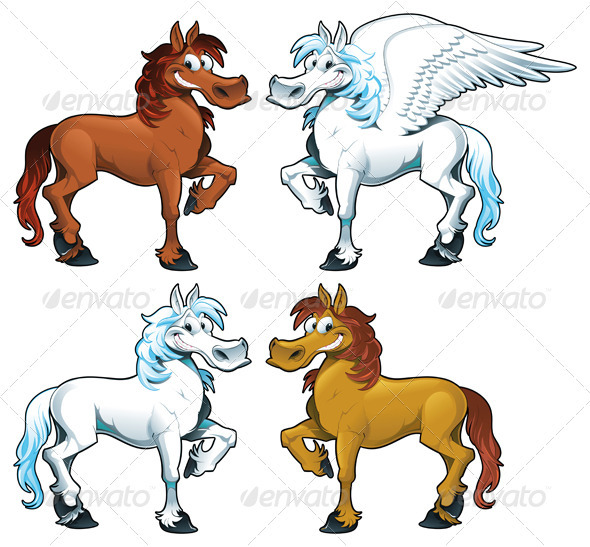 Family of horses + 1 Pegasus.  - Animals Characters