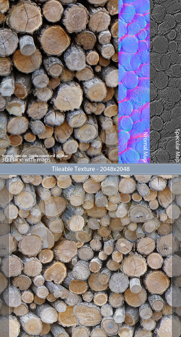 Wood Stack Tileable Texture - 3DOcean Item for Sale