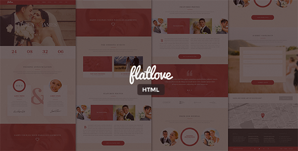 FlatLove – Flat One Page Wedding HTML5 Template