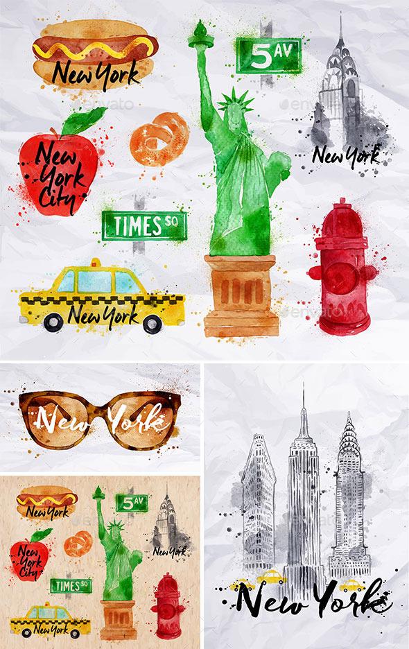 New York Watercolor Symbols By Anna42f Graphicriver