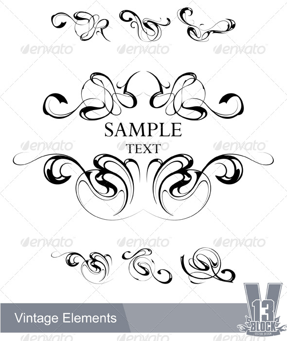 Set of vintage design elements - Decorative Symbols Decorative