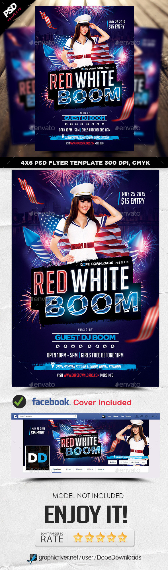 Red White Boom Flyer Template - Holidays Events