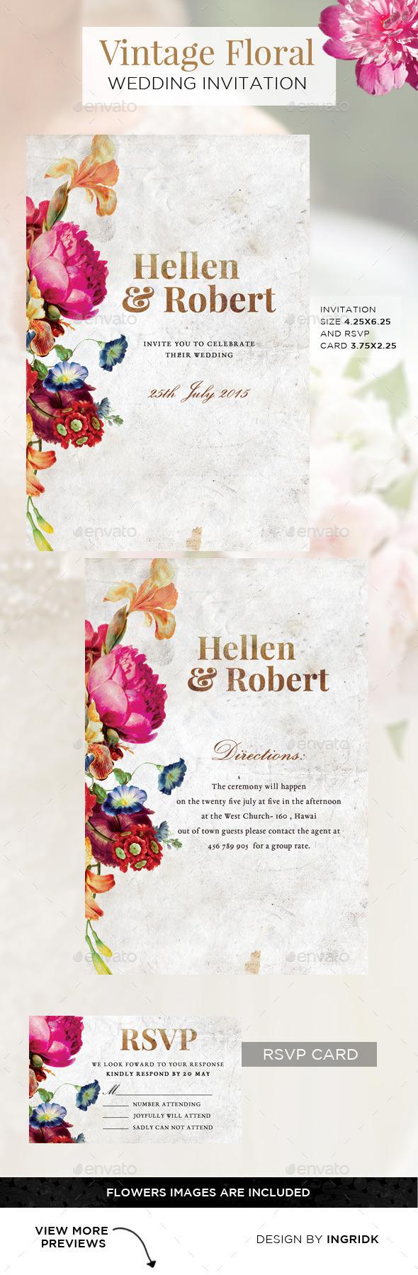 Vintage Floral Wedding Invitation with RSVP Card by ingridk ...