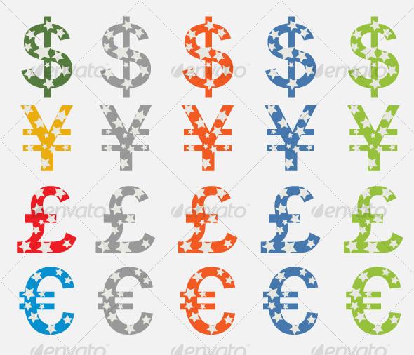 Currency Symbols Dollar, Yen, Pound, Euro - Business Icons