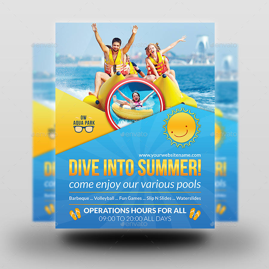 Aqua Park Flyer Template - Aqua Park Flyer Template By OWPictures GraphicRiver