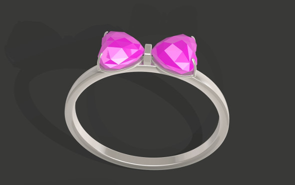 Bowtie Shapped Gem Ring - 3DOcean Item for Sale