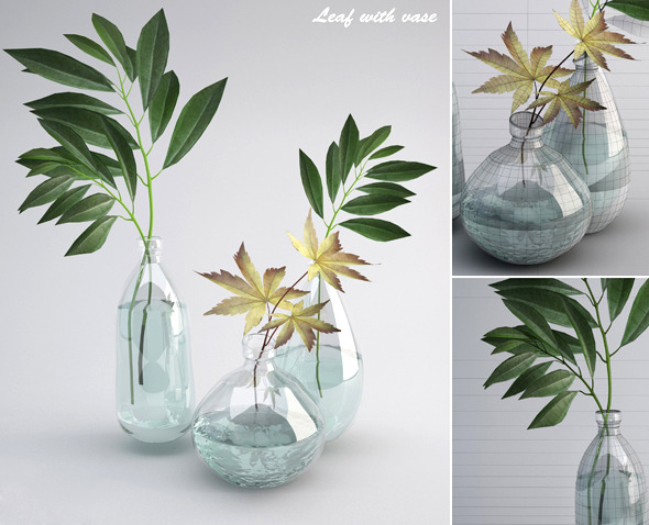 Leaf wiht Vase - 3DOcean Item for Sale