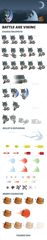 Battle Axe Viking Sprite - Sprites Game Assets