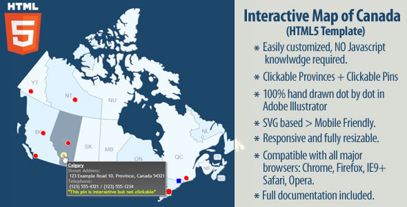 Interactive Map of Canada - HTML5 - CodeCanyon Item for Sale