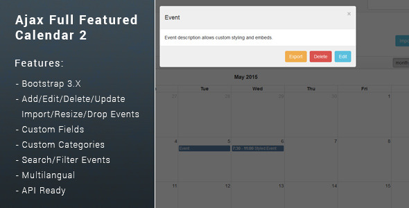 Ajax Full Featured Calendar 2 - CodeCanyon Item for Sale