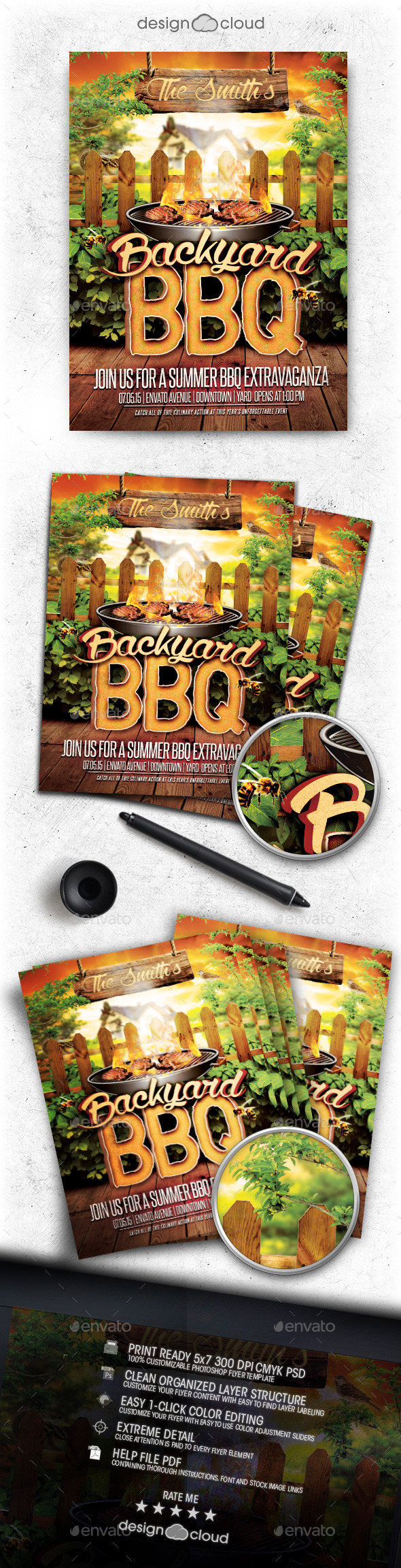 Backyard BBQ Flyer Template - Clubs & Parties Events