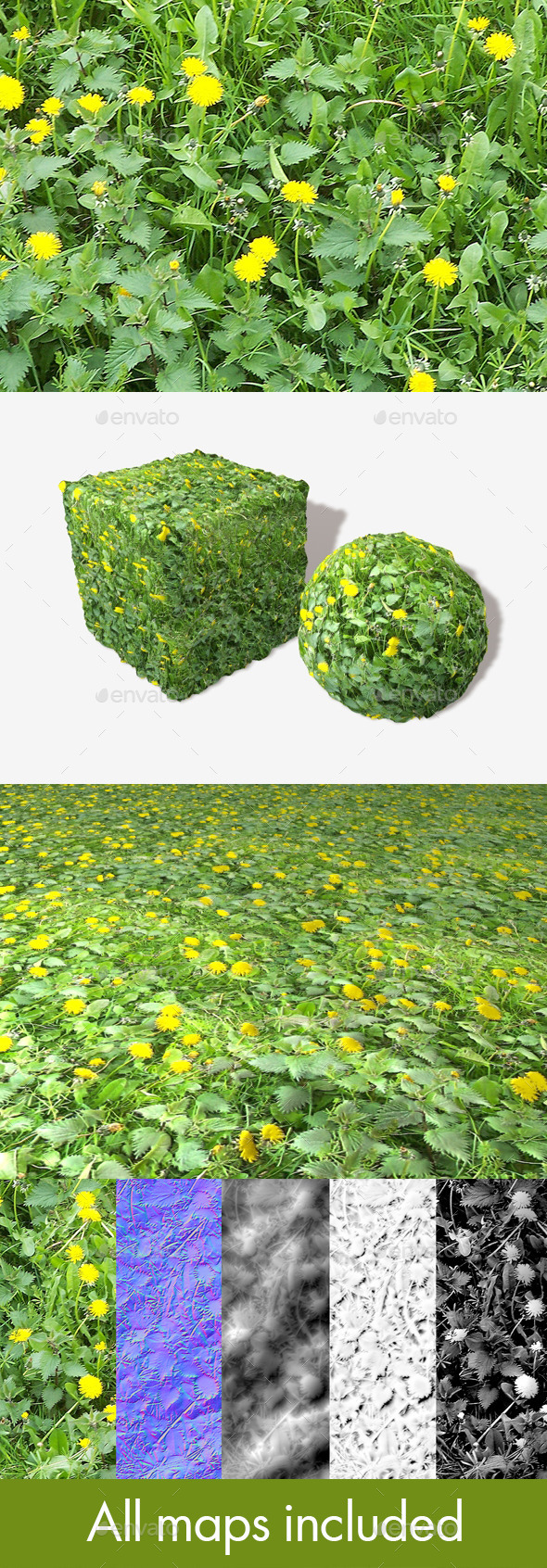 Dandelions and Weeds Seamless Texture - 3DOcean Item for Sale