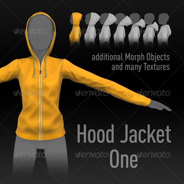 Hood Jacket One, additional Morphs, many Textures - 3DOcean Item for Sale