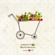 Garden Cart With Bright Summer Fruits And Berries. - GraphicRiver Item for Sale