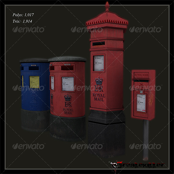 English mailboxes  - 3DOcean Item for Sale