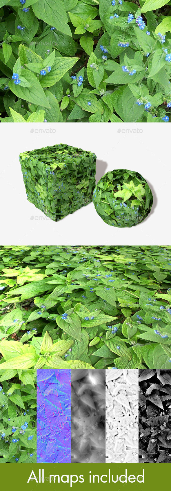Blue Flowered Weeds Seamless Texture - 3DOcean Item for Sale