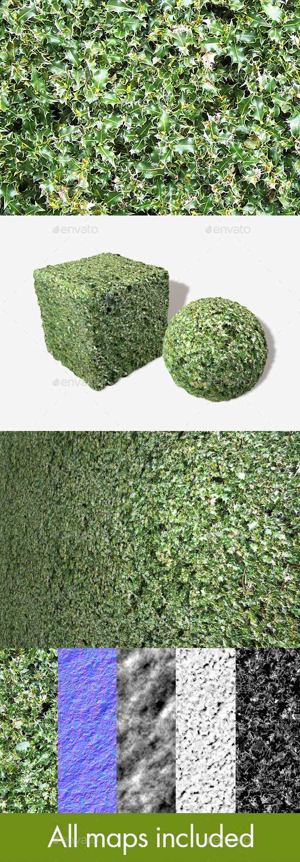 Holly Seamless Texture - 3DOcean Item for Sale